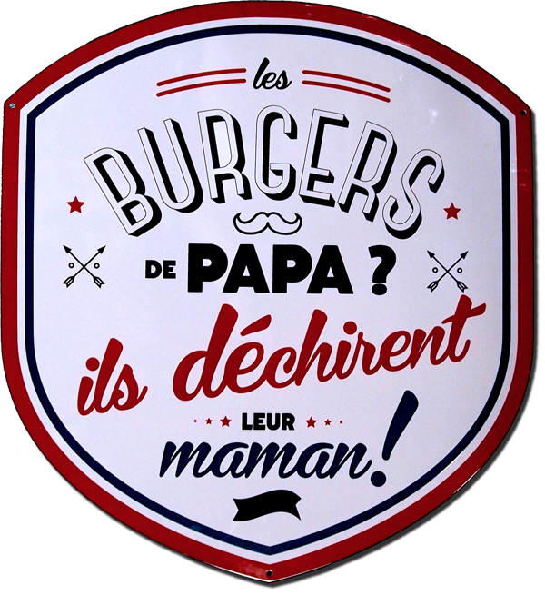 Les Burgers de Papa - publicité sur plaque émaillée - © Manufacture Vosgienne d'Émaillage