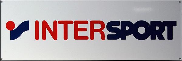 Intersport - plaque émaillée publicitaire - © Manufacture Vosgienne d'Émaillage