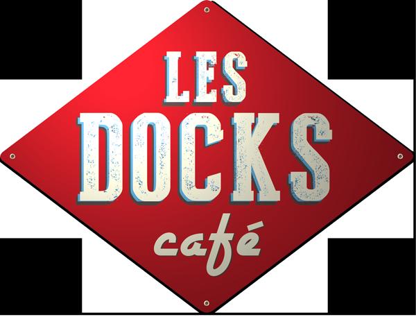 LES DOCKS café - plaque émaillée publicitaire © Manufacture Vosgienne d'Émaillage