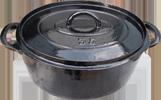 Marmite professionnelle ancienne en fonte re-émaillée pour un usage renouvelé