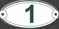 numéro de maison ovale émaillé - sérigraphie verte sur fond blanc