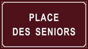 Plaque de rue émaillée : place des seniors
