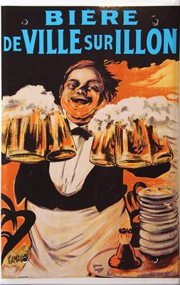 La Bière de Ville sur Illon - plaque émaillée publicitaire - ©Manufacture Vosgienne d'Émaillage